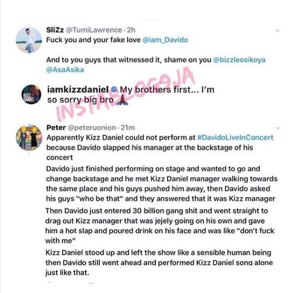 Davido Slaps Kizz Daniel Manager